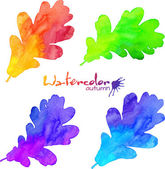 Rainbow colors watercolor painted oak leaves set — Vector de stock
