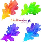 Rainbow colors watercolor painted oak leaves set — Vettoriale Stock