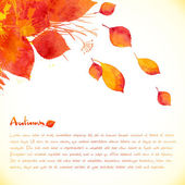 Watercolor painted autumn leaves vector background — Stock Vector