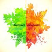 Summer and autumn foliage season banner — Stock Vector