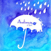 Blue watercolor painted umbrella and rain illustration — Stock Vector