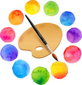 Watercolor painted rainbow colors circles with brush and wooden palette — Vector de stock