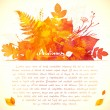 Orange watercolor painted leaves greeting card template — Stock Vector #53938651