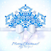 Blue Christmas greeting card with bow — Wektor stockowy