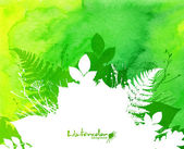 Green watercolor background with white leaves silhouette frame — Stock Vector