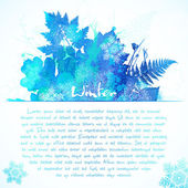 Blue watercolor painted winter leaves greeting card template — Stock Vector