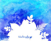 Blue watercolor background with white leaves silhouette — Vector de stock