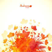 Orange autumn leaves watercolor background — Stock Vector