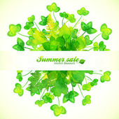 Green watercolor painted clover leaves — Stockvector