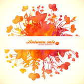 Orange autumn leaves sale banner — Stock vektor