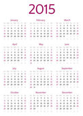2015 year calendar  grid — Stock Vector