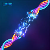 Electric lightning between cables — Stock Vector