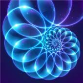 Blue fractal cosmic spiral — Stock Vector