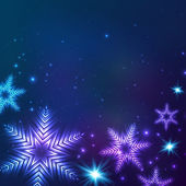 Blue cosmic snowflakes Christmas abstract background — Vector de stock