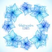 Blaue Vektor Wasserfarben gemalte Blumen frame — Stockvektor