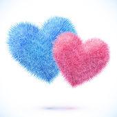 Blau und Rosa-paar Herz — Stockvektor