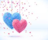 Kalpler Sevgililer günü arka plan mavi ve pembe Çift — Stok Vektör