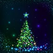 Green shining lights vector Christmas tree — Vecteur