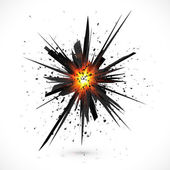 Black isolated vector explosion with particles — Stock Vector