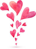 Pink watercolor painted flying hearts spring — Vector de stock
