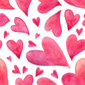 Pink watercolor painted hearts seamless pattern — ストックベクタ