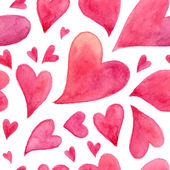 Pink watercolor painted hearts seamless pattern — 图库矢量图片