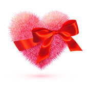 Pink fluffy heart with red silky bow — Stockvector