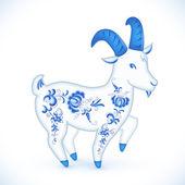 Blue cartoon goat in Russian gzhel style — Vettoriale Stock