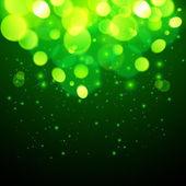 Green magic bokeh effect abstract background — Stock Vector