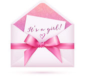 Pink baby shower vector envelop with bow — Stock Vector