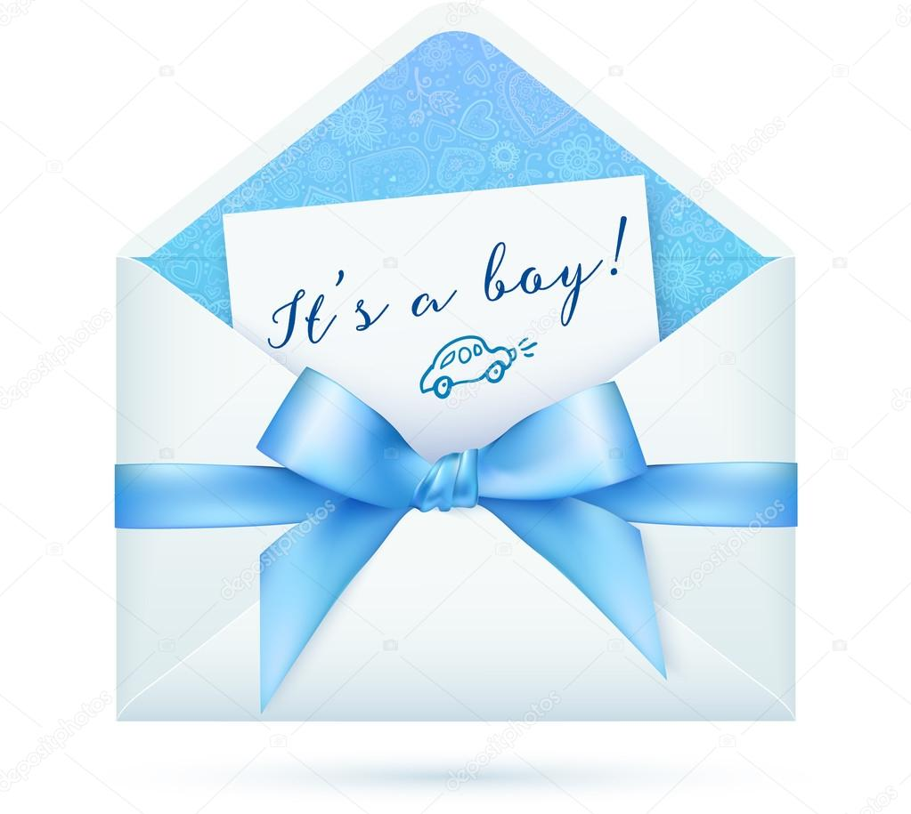 Blue baby shower vector envelop with bow — Vector stock © artofsun #62252051 # Sunshower Blue_021322