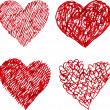 Red pen hand drawn hearts set — Stock Photo #62307699