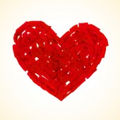 Red flat brush painted vector heart — Stockvector