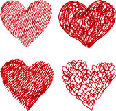 Red pen hand drawn hearts set — Stock Vector