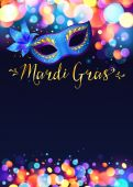 Bright Mardi Gras poster template with bokeh effect lights and blue carnival mask — Stock Vector