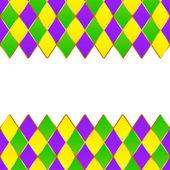 Green, purple, yellow grid Mardi gras frame — Stock Vector
