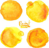 Yellow watercolor painted vector stains set — Vettoriale Stock