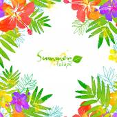 Bright tropical flowers vector summer frame — Stock Vector