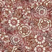 Seamless pattern in Indian henna mehndi style — Stock Vector