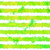 Green watercolor stripes vector seamless pattern — Stock Vector