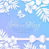 White cutout paper tropical flowers on blue background, wedding card template — Stock Vector