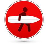 Červená kulatá stopku s člověkem a Surf — Stock vektor