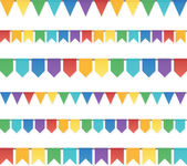 Rainbow colors flat style holiday flags garlands set on white background — Stock Vector