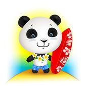 Little cute surfer panda, vector illustration — Stock Vector