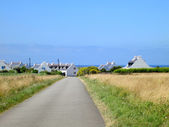 Road to village at the coast of ocean. Brittany, France — ストック写真