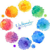 Watercolor rainbow colors stains vector set — Stock Vector