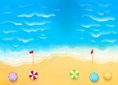 Strand met golven, rip huidige afbeelding — Stockvector