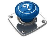 Mavi soru düğme kavramı. — Stok fotoğraf