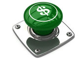 Green dollar button concept — Stok fotoğraf