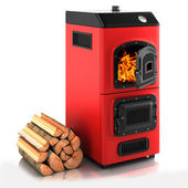 Solid fuel boiler. — Stock Photo